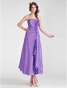 A-line Strapless Tea-length Taffeta Organza Bridesmaid Dress