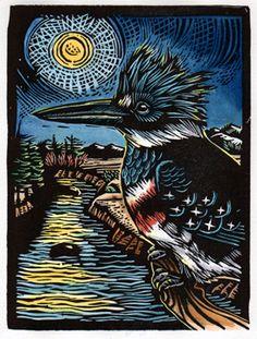 Kingfisher - Woodcut - Claire Emery