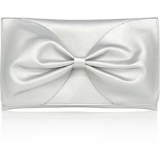 BOW BAG CLUTCH ($49) ❤ liked on Polyvore featuring bags, handbags, clutches, party purse, bow purse, white purse, bow handbag and flap purse