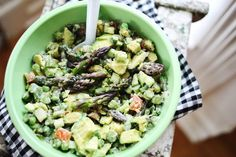 Avocado and asparagus salad and Kale blue cheese dressing with peas and tomatoes salad recipes