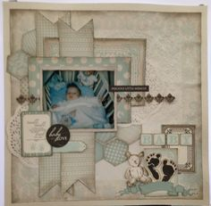 Kaisercraft Pitter Patter. Kylie Hughes. MakeApage Scrapbooking Victoria Australia. Baby Scrapbook Pages, Baby Boy Scrapbook, Scrapbook Page Layouts, Scrapbooking Ideas, Scrapbook Paper, Baby Boy Newborn, Baby Kids, Paper Ribbon, Baby Pictures