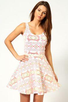 Melissa Multi Aztec Belted Skater Dress