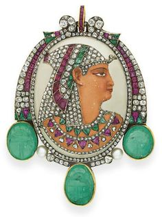 """Egyptian-Revival Enamel, Rose-Cut Diamond, Emerald, Ruby And Pearl """"Pharaoh"""" Brooch Mounted In Gold - Signed Baugrand (for Gustave Baugrand)   c.1897"""