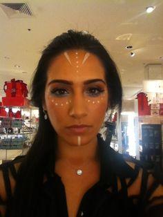 Native American Indian makeup. Maquillaje de India. Maquiagem de Halloween indigena