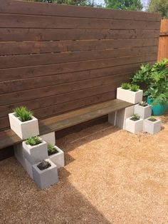 Succulent Outdoor Cinder Block Bench