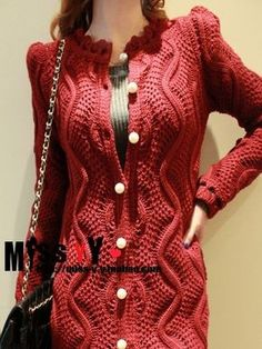 6 (349x465, 217Kb) Knit Cardigan Pattern, Red Cardigan, Mohair Sweater, Cable Knit Sweaters, Crochet Woman, Lace Knitting, Sweater Fashion, Crochet Clothes, Knit Dress