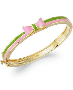 Pink and green bow bangle