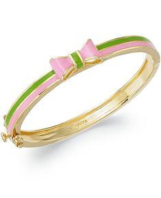 Pink and green bow bangle