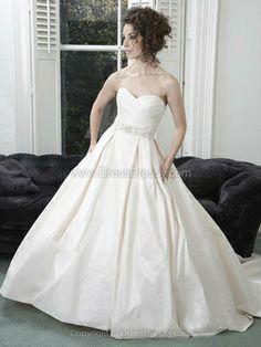 Ball Gown Sweetheart Taffeta Sweep Train Beading Wedding Dresses