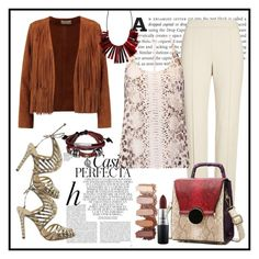"""Snake Print"" by janie-xox ❤ liked on Polyvore featuring Whiteley, Sandro, St. John, Haute Hippie, Schutz, Bling Jewelry and MAC Cosmetics"