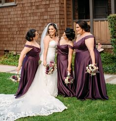 These babes are the definition of bridesmaid beauty! In a shade perfect for a fall wedding, this classic ballgown a modern twist with its elegant satin shine, flattering off-the-shoulder neckline, and side pockets to stash your wedding day essentials! | #fallbridesmaids #purplebridesmaiddresses #bridesmaiddresses |Style F20134 in Plum | Shop this style and more at davidsbridal.com | Photo by: @hiii_jazz