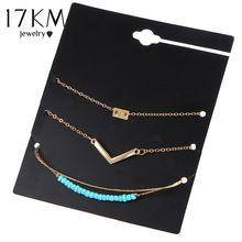 17 KM 3 Unids/set Nueva Bijoux Letra V Beads Bracelet Set Moda Vintage Infinito 8 Pulseras Para Las Mujeres Declaración de Regalo los hombres de La Joyería(China (Mainland))