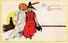 Vintage Halloween Witch Pumpkin-Headed Ghost  Sitting on Broom with Cute Black Cat! Digital Vintage ILLUSTRATION! Halloween Printable Image.