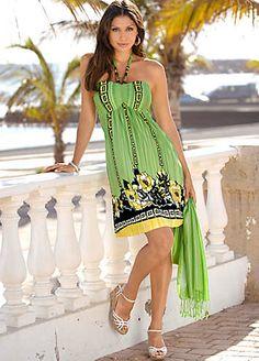 Green Print Halterneck Dress | Holiday Fashion | Womens | Swimwear365