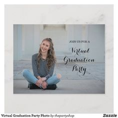 Shop Virtual Graduation Party Photo Announcement Postcard created by thepartyshop. Personalize it with photos & text or purchase as is! Senior Graduation Quotes, Graduation Invitations College, College Graduation Parties, Graduation Celebration, Graduation Announcements, Graduation Ideas, Graduation Caps, Grad Cap, Party Stores