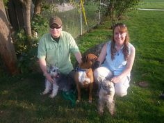 """Sweet Dylan has found himself an amazing family with Heather Reynolds and Jason. He will have acres to run, 2 schnauzer siblings to show him the ropes, and even gets to be """"shop dog""""! This boxer boy was SMILING! Thank you Heather and Jason for rescuing!! Happy trails Dylan!"""
