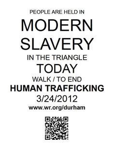 We need your help: join us in our walk to end human trafficking in Durham.