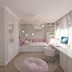 15 Cute Bedroom Ideas for Girls - Cool Bedroom Design Pink Bedroom Decor, Bedroom Decor For Teen Girls, Cute Bedroom Ideas, Room Design Bedroom, Girl Bedroom Designs, Room Ideas Bedroom, Small Room Bedroom, Home Room Design, Bedroom Themes