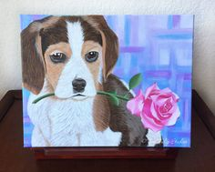 Beagle Painting Valentines Gift for Her Dog by TealTulipStudios