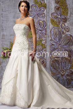 US $199.49 Fantastic A-Line/Princess Strapless Floor-length Chapel Embroidery Wedding Dresses(3AA0422)