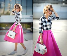 Now this is darling. You wouldn't think flannel and a pink a-line would work together, would you?