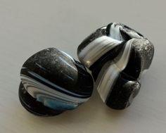 Genuine Murano End Of Day Sea Glass Pretty Twisted Black & White!! (I54)     eBay