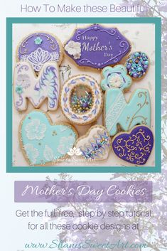Learn how to decorate sugar cookies with this step by step tutorial on how to make beautiful Mother's Day Cookies. Full video tutorial includes recipes, tips & tricks and a bunch of different decorating techniques and cookie designs. Mother's Day Cookies, Yummy Cookies, Sugar Cookies, Cake Decorating Tutorials, Cookie Decorating, Cake Pop Tutorial, Iced Biscuits, Sweetarts, Cookie Tutorials
