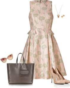 """Floral Print Peplum Dress"" by jpschwartz on Polyvore"
