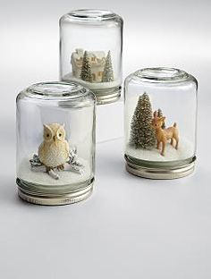 Super simple craft idea, easy for kids and can be done for so many holidays/events. Just get canning jars (craft stores sell all sizes and shapes of clear glass jars)... The glue whatever you'd like to the bottom, make small vignettes, personalized favors or wedding decorations, a memory jar of a special vacation or occasion. So fun!     Pwinter wonderland snow globe
