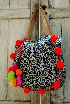 Pom Pom beach bag/Tassels beach bag/Boho Bags/Yoga Bag / Weekend bags * FLORIPA BAG by JavaSpirit on Etsy