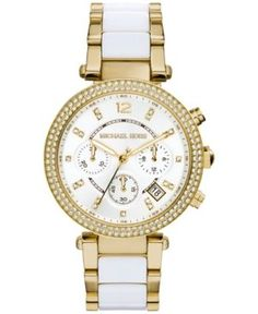 Michael Kors Women's Chronograph Parker White Acetate and Gold-Tone Stainless Steel Bracelet Watch 39mm MK6119