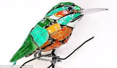 Fishing for materials: Barbara Franc scours bins and skips to find items to make sculptures like this kingfisher