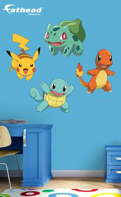 Like all Fathead wall graphics, the Pokémon Favorites Collection provides an impressive decorating solution that is easier and cheaper than either paint or wallpaper. SHOP removable vinyl wall decals at  http://www.fathead.com/kids/pokemon/pokemon-favorites-collection-wall-decal/ | DIY Kids Fun Bedroom Decor Ideas | Boys + Girls Bedroom Wall Art Decor