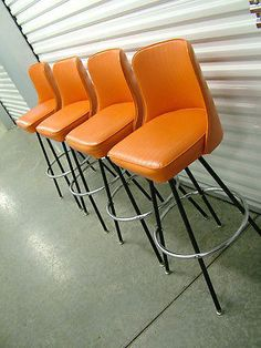 Set 4 Vintage Mid Century Modern Retro Orange Swivel Bar Stools Eames Overall Tall 29 Seat X 17 Wide 14 Deepvery Good Condition