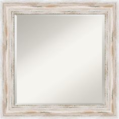 Large White Washed Wood Mirror. Perfect for beach cottage style living! http://beachblissliving.com/shoreline-living/