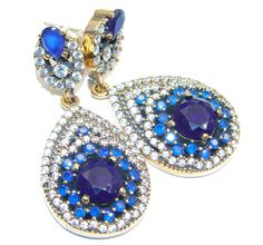 $52.65 Victorian+Style+created+Sapphire+&+White+Topaz+Sterling+Silver+earrings at www.SilverRushStyle.com #earrings #handmade #jewelry #silver #quartz