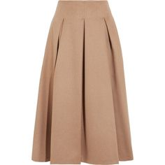 Max Mara Pleated camel hair midi skirt ($600) ❤ liked on Polyvore featuring skirts, pleated midi skirt, a line midi skirt, beige skirt, calf length skirts and structured skirt