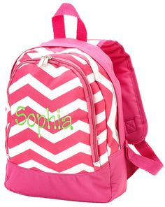 Pink Chevron monogrammed  backpack