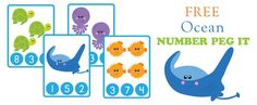 "Today our free printable is a super cute set of Ocean themed number peg it cards! This set comes from our new ""Ocean Learning Pack"", just added to our store,  y"