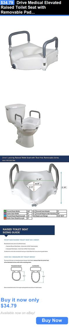 Toilet Seats: Drive Medical Elevated Raised Toilet Seat With Removable Padded Arms, Standard BUY IT NOW ONLY: $34.79