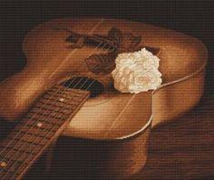 Роза на гитаре (в ПДФ) - Авторские схемы (только для пользователей). НЕ РАСПРОСТРАНЯТЬ без разрешения! - Схемы вышивки - Иголка