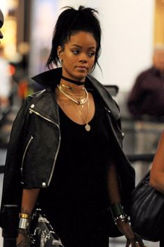 Throw on that leather jacket on top like Rihanna