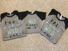 Wild One Parent Tee. Mom of the wild one. Dad of the Wild One First Birthday Themes, Wild One Birthday Party, Baby Boy 1st Birthday, Baby Party, First Birthdays, Birthday Ideas, Wild Ones, Wild Things, How To Make Notes