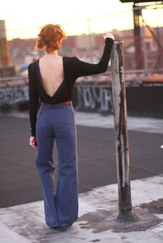 Amber Sakai bodysuit, vintage bellbottoms/belt, Jewelmint pomander necklace, Rachel's sunglasses