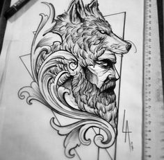 No photo description available. Wolf Tattoos, Hai Tattoos, Body Art Tattoos, Sleeve Tattoos, Tatoos, Norse Tattoo, Viking Tattoos, Tattoo Sketches, Tattoo Drawings
