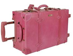 Pink Leather Trolley Suitcase by Kangol