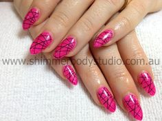 Gel Nails, Pointed Nails, Pink Nails, Stamping Nail Art.