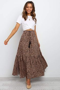 Lauriel Skirt - Tan DETAILS maxi length elasticised waist with drawstring side splits leopard animal print unlined SIZING model is and wears a Size S garment flat measurements: Size S length - SEE DETAILS Long Skirt Outfits For Summer, Maxi Skirt Outfits, Spring Outfits, Dress Skirt, Summer Dresses, Maxi Skirt Outfit Summer, Maxi Skirt Style, Long Denim Skirt Outfit, Long Skirts For Women