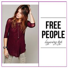 Maroon Top ✨Cute color, 3/4 sleeves tee,  reverse seem detail & contrast crew neck. ✨✨Lightweight semi-sheer, scalloped hem .... Free People Tops