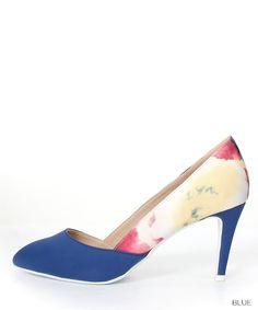 RANDA (Randa) ★ official site │ Women's Shoes Store [2015S / S] New Combi material Flower Pumps /ES4013(22.5 Blue): Pumps
